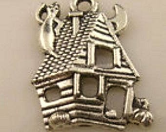 House, haunted house pendant, cat charm and moon, witch, silver charm, jewelry supply House