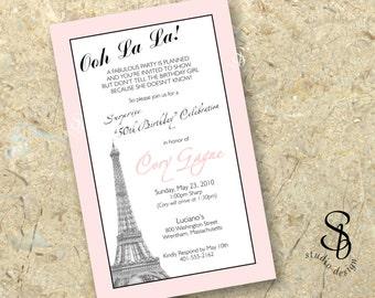 paris theme birthday invitation DIY printable