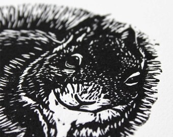 """The squirrel, 1 original wood print, """"animals coming out of the wood"""" collection"""