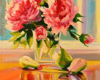 Art print of, PEONIES AND PEARS, soft blues and pinks, square glass vase, impressionist still life