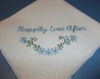 Wedding handkerchief, something blue, bridal gift, hanky for bride, bridal hankie, bouquet wrap, groom to bride, happily ever after,