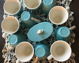 Retro Speckled Turquoise Corset Tea Set