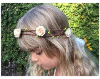 Flower girl flower crown - Rustic wedding flower girl flower crown - Flower girl headband - Toddler and girls wedding flower crown - wreath