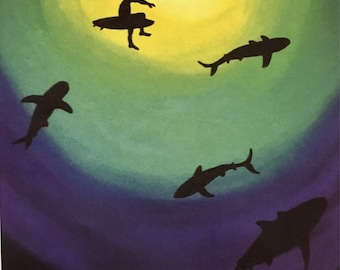 Surfer and Sharks - Print