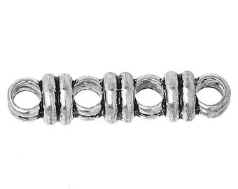 5 Silver spacer beads 4 holes - SC68116 - 27x6mm