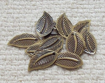 SALE - Antique Bronze Leaf Beads - 17 x 8 mm - Sets of 20