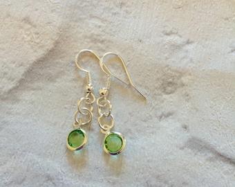 Peridot Crystal Earrings, August Birthstone Earrings, Dangle Drop Earrings, Silver Earrings, Peridot Gifts, Silver Jewellery, Peridot.