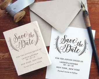 Save the Date Stamp #1 - Calligraphy - Wreath - Personalized