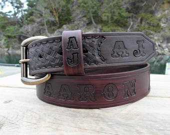 Engraved Leather Name Belt, Personalized Leather Belt, Tooled Leather Belt with Name and Initials