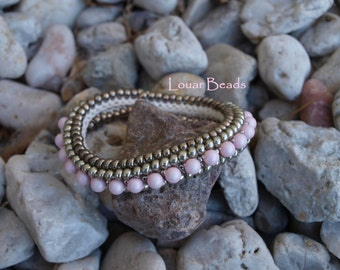 Crochet Beaded Bracelet in antique silver and soft pink Swarovski pearls