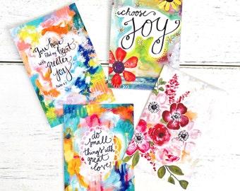 Inspirational Postcards Pack of 4 / Art Postcards / Mini Prints