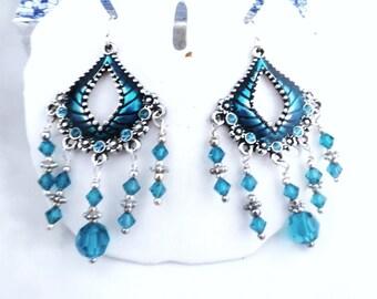 Teal & Crystal Chandelier Earrings, Swarovski Crystal Earrings, Dangle Earrings, Teal Crystal Earrings, Hand Made in America