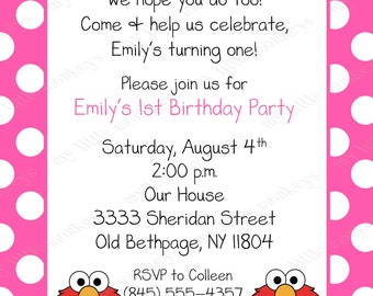10 Elmo Pink Polka Dot Birthday Invitations with Envelopes.  Free Return Address Labels