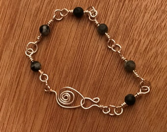 Silver wire and stone bracelet