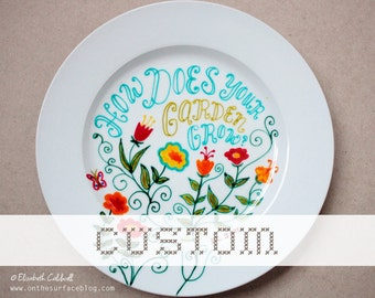 Made to Order - Custom Hand Drawn Small Ceramic Plate with quote or doodle