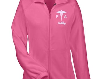 Physical Therapy Assistant Women Fleece Jacket / Physical Therapy Assistant Gift /PTA Caduceus / PTA Jacket - PRN - 038B