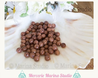 10 natural aventurine goldsand 6mm beads