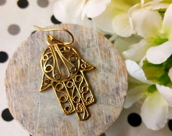 Hamsa Earrings, Ethnic Earrings. Tribal Brass Earrings. Dangle Earrings, Boho Earrings. Gypsy Earrings. Brass Earrings, Ethnic Style