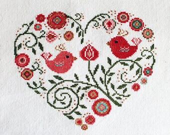 Cross stitch pattern, heart needlepoint, birds sampler, spring flowers
