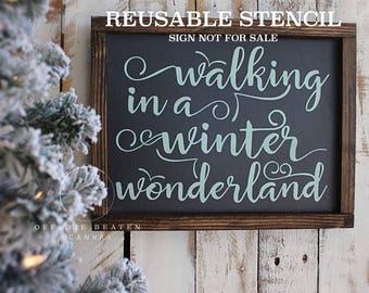 walking in a winter wonderland STENCIL | Laser Cut | Reusable | International Shipping | Winter Christmas Stencil