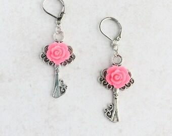 Silver Key Flower Earrings, Pink Rose Key Earrings