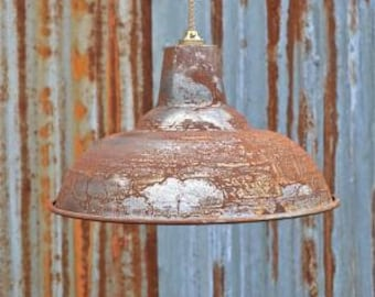 A large rusty metal steampunk ceiling light shade BL15