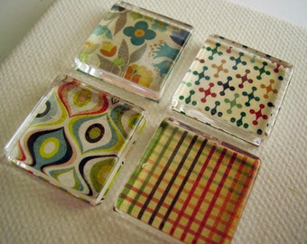 Set of four 1 inch square glass super cute magnets abstract colorful kitchen magnets