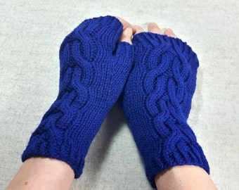 "Fingerless Gloves ""Rapunzel"", handknitted mittens for women, wool, cabled arm warmers, winter gloves, knit fingerless mittens,"
