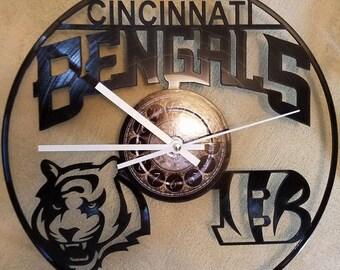 CINCINNATI BENGALS vinyl record clock