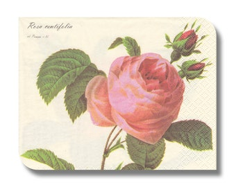 Rose paper napkin for decoupage, mixed media, collage, scrapbooking x 1. Rosa. No 1101