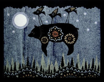 Night Flight - 16 x 20 inch Cut Paper Art Print