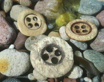 Sea worn bone buttons uniqye sea find vintage buttons