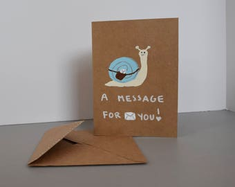 Happy Snail Mail Greeting Card - Blue