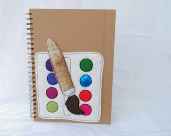 A4  Machine embroidered ring bound sketch book Paint Palette design