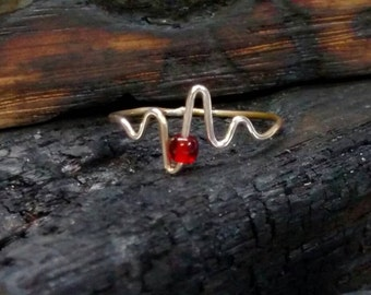 E.K.G HeartBeat Ring solid Sterling silver EKG EMT Gift for a Nurse Doctor Md heart patient sister mom grandma 925