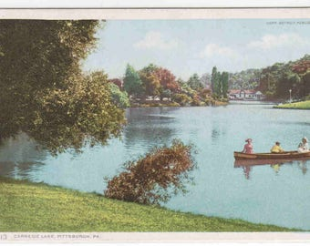 Boating Carnegie Lake Pittsburgh Pennsylvania 1910c Phostint postcard