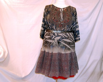 2X 3X 4X plus size dress refashioned upcycled eco clothing altered womens blue gray red restyled boho trendy indie lagenlook unique