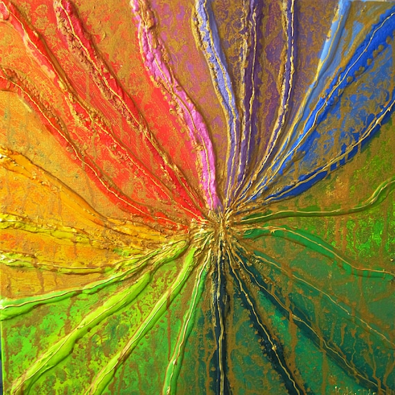 Original Abstract Oil Art Colorful 3d Painting On Canvas FREE SHIPPING Rainbow Wall Decor