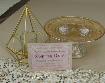 Blush Floral 1920s Wedding Save the Date card