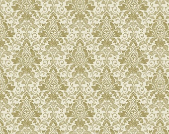 Dress Material, Light Olive Green Fabric, Poly Crepe Satin Fabric, Floral Damask Print, Decor Fabric, Fabric By The Yard, MIN-FL47H