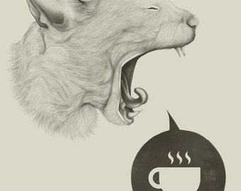 poster coffee time cat yawning for coffee art print tired cat funny cat drawing cute cat