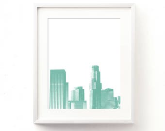 mint green wall art, LA skyline print, instant art printable, Los Angeles art, Cali, summer print, baby boy nursery decor, kids room art