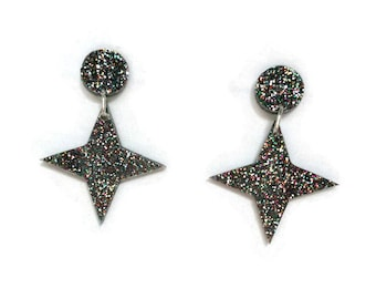 Retro Four Point Star Dangle Earrings - Rainbow Glitter - Rockabilly, Atomic 50s, Vintage Style, Pinup  - Laser Cut Acrylic