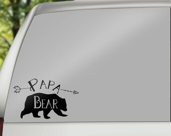 Papa Bear Car Decal, Papa Bear Decal, Papa Bear Sticker, Personalized Decal, Dad Life Decal, Bear Window Decal, Personalized Window Decal