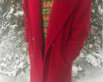 Red Wool Full-length Vintage Coat with Hood