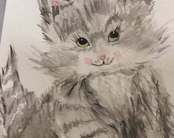 Kitten Watercolor Painting