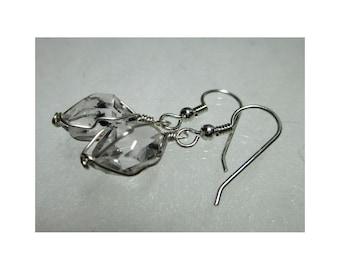 """ww1276 - 3/8""""+ Wirewrap HERKIMER DIAMOND EARRINGS - Argentium Sterling Silver"""