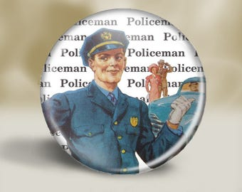 Retro Policeman Magnet or Pin, Large 2.25'' inch, Fathers Day Magnet, Support our Police, Vintage Policman, Vintage Illustration, Blue Blood