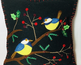 """10""""x 10""""  Wool Felted Appliqued Pillow Cushion"""