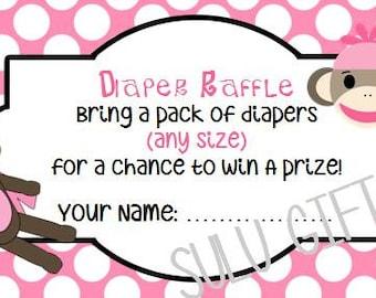 SALE Sock Monkey Pink Baby Shower Diaper Raffle ~ Instant Download Printable PDF File ~Pink  Polka Dot Design Girl
